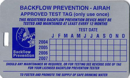 Backflow Tags